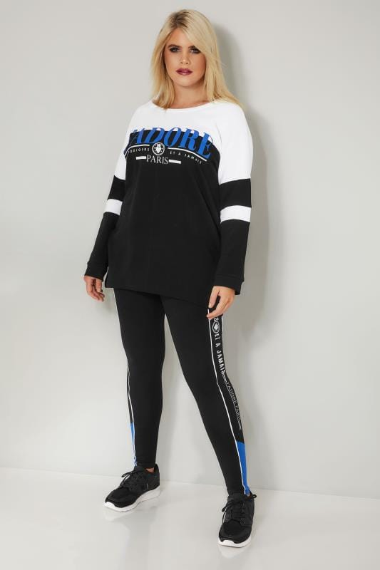Black & White Colour Block 'Jadore' Sweater