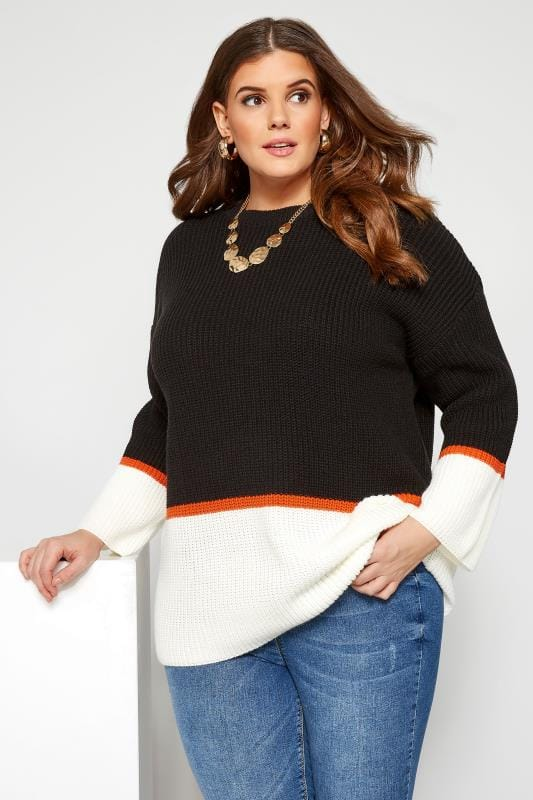 Plus Size Jumpers Black & White Colour Block Jumper