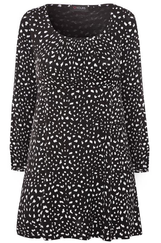 Black & White Dalmatian Print Balloon Sleeved Tunic