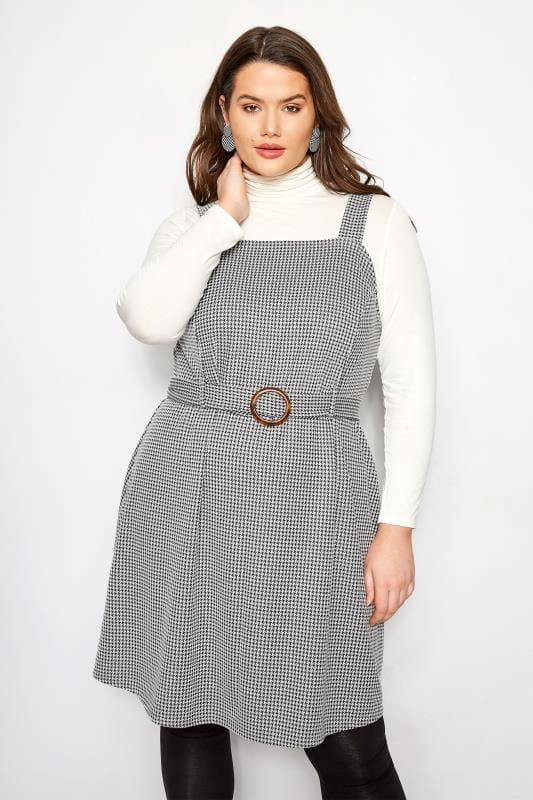 Black & White Dogtooth Belted Pinafore Dress