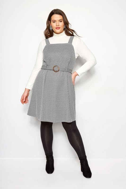 Plus Size Pinafore Dresses Black & White Dogtooth Belted Pinafore Dress