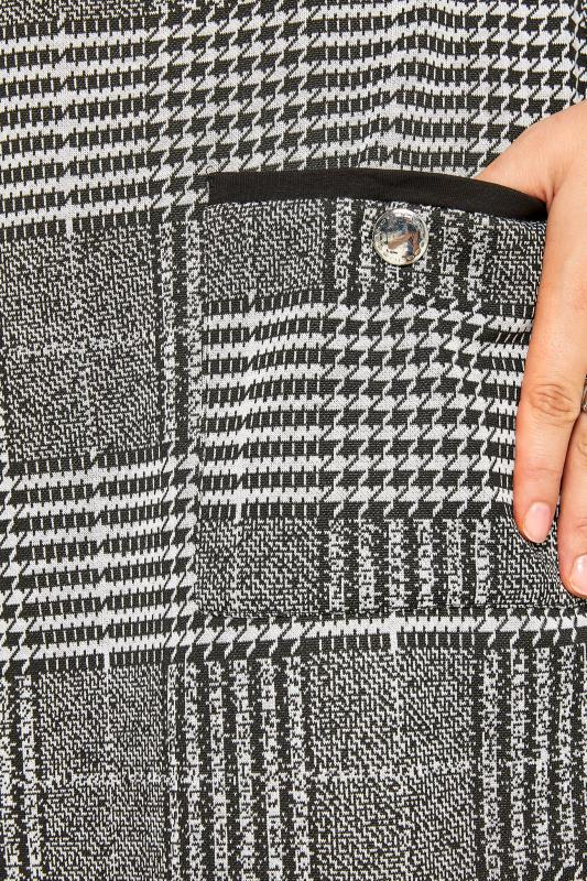 Black & White Dogtooth Check Mock Pocket Tunic
