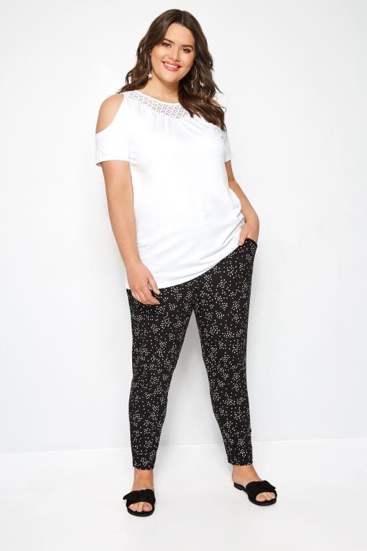 Black & White Double Pleat Spot Harem Trousers