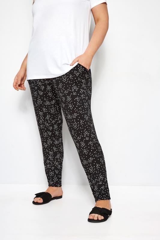 Pantalones harem Tallas Grandes Pantalones negros de topos con pinzas