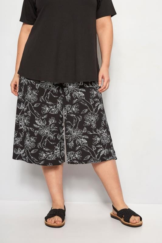 Black & White Floral Culottes