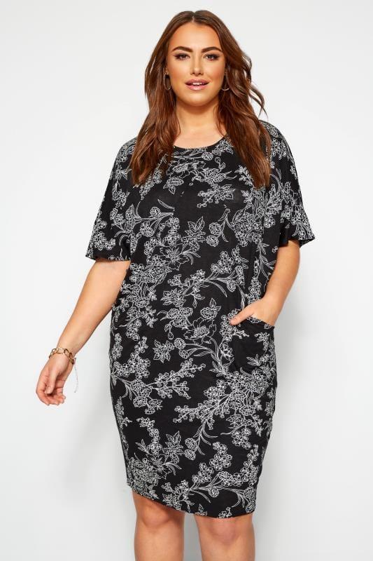 Cocoon jurk met zakken en bloemenprint in zwart