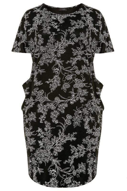 Plus Size Floral Dresses Black & White Floral Drape Pocket Cocoon Dress