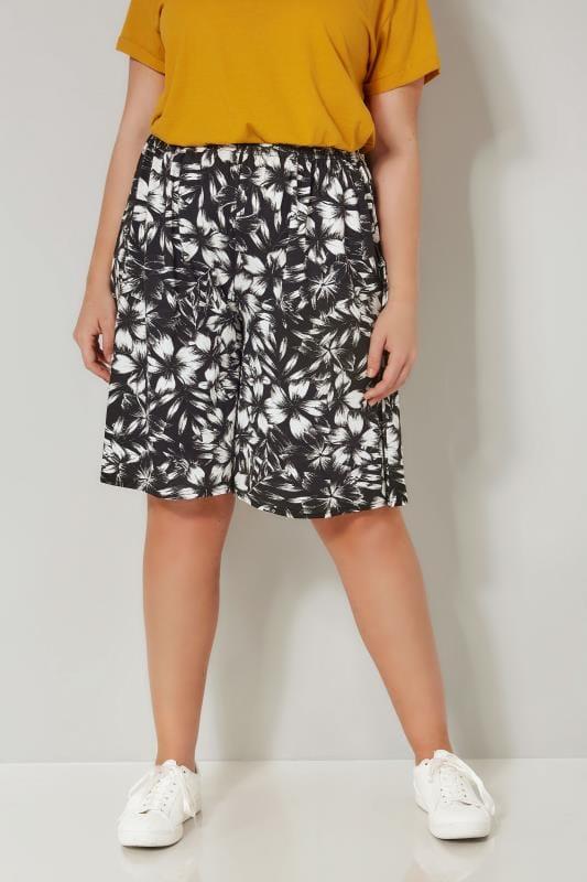 Black & White Floral Jersey Shorts