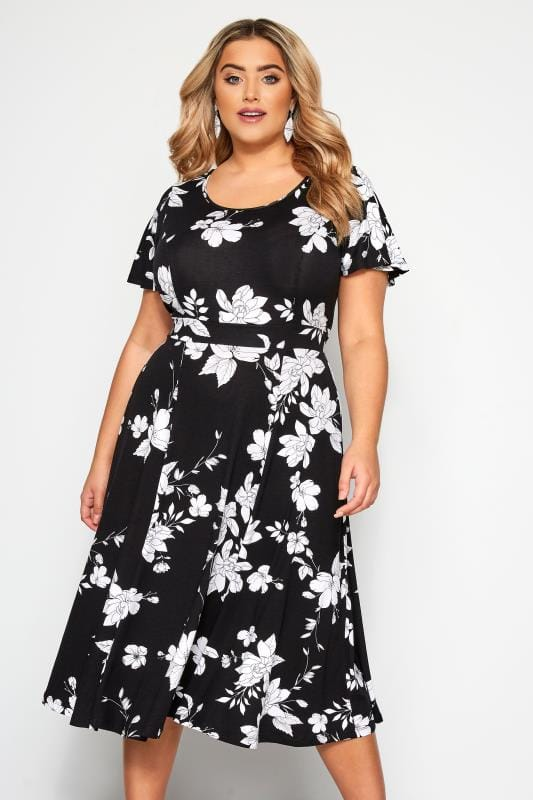 Plus Size Floral Dresses Black & White Floral Midi Dress