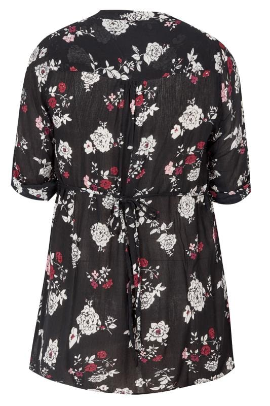 Black & White Floral Pintuck Blouse