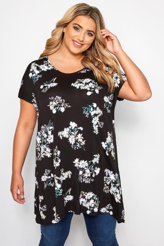 Black & White Floral Print Hanky Hem T-Shirt