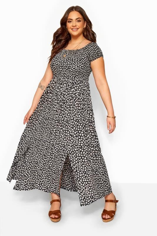Black & White Floral Shirred Bardot Maxi Dress