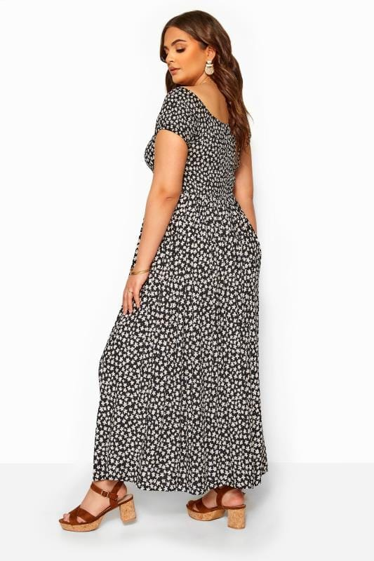 Black & White Floral Shirred Bardot Maxi Dress
