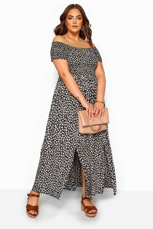 Plus Size Maxi Dresses Black & White Floral Shirred Bardot Maxi Dress
