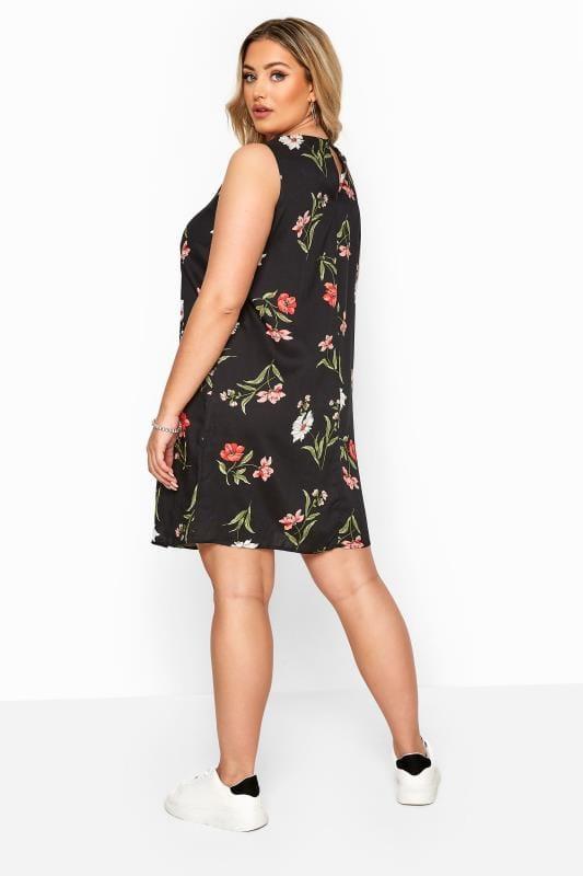 Black & White Floral Sleeveless Pocket Dress