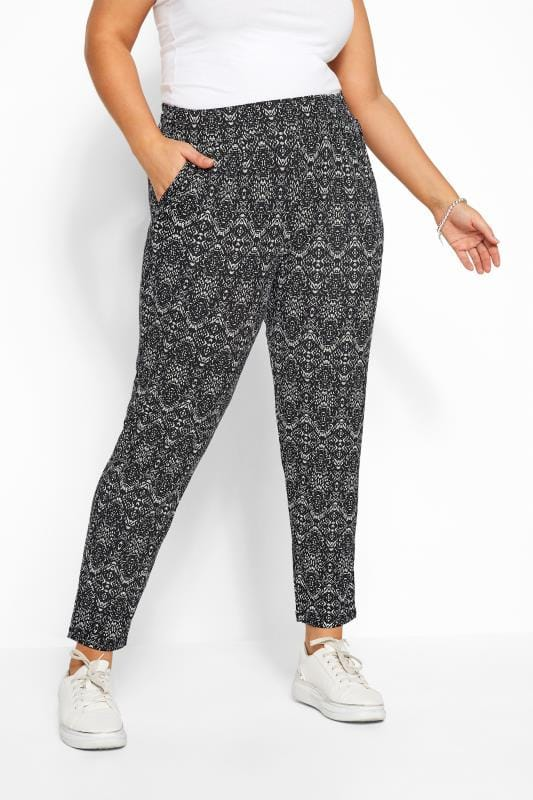 Black & White Geometric Tile Print Double Pleat Harem Trousers