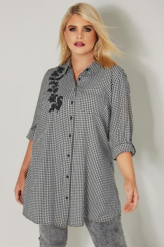 Black & White Embroidered Gingham Boyfriend Shirt