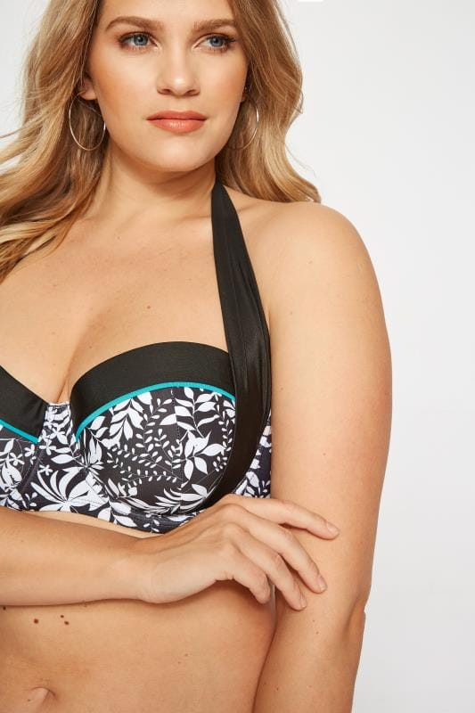 Plus Size Bikinis & Tankinis Black & White Leaf Bikini Top