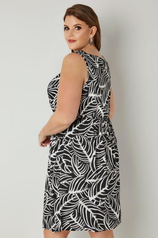 Black & White Leaf Print Pocket Dress With Elasticated Waistband