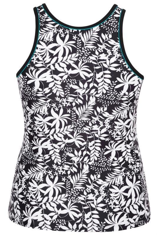 Black & White Leaf Tankini Top