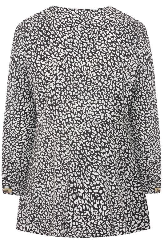 Black & White Leopard Print Peplum Blouse