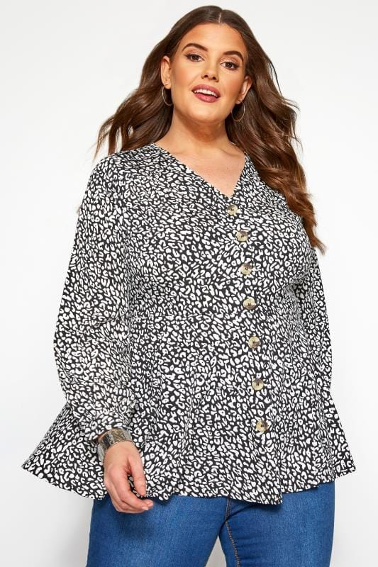 Große Größen Blusen Schößchen-Bluse im Dalmatiner-Muster - Schwarz/Weiß
