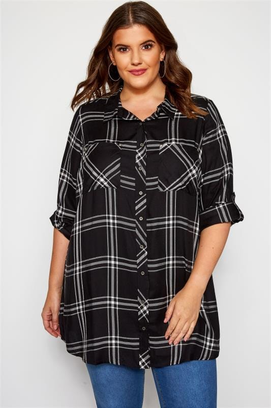 Plus Size Shirts Black & White Metallic Check Boyfriend Shirt