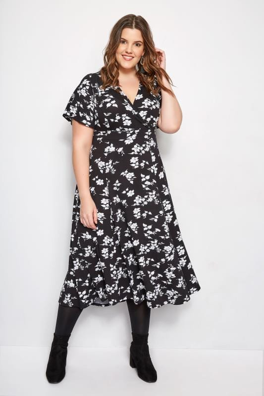 Plus Size Black Dresses Black & White Mini Floral Midi Wrap Dress