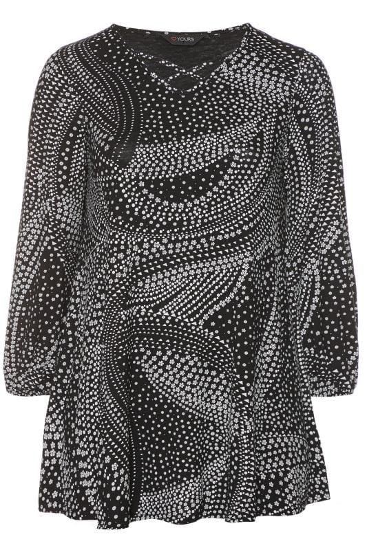 Black & White Mixed Print Balloon Sleeve Top