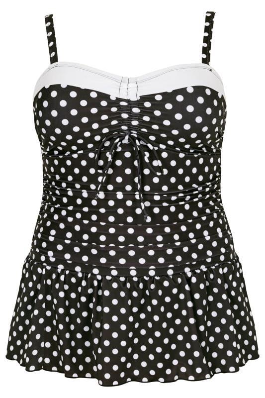 Black & White Monochrome Polka Dot Print Swim Dress
