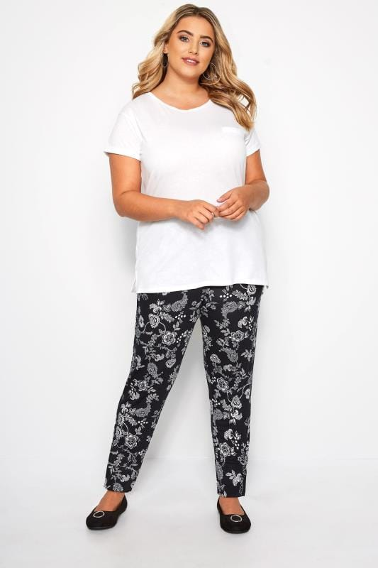 Plus Size Harem Trousers Black & White Paisley Pleated Harem Trousers