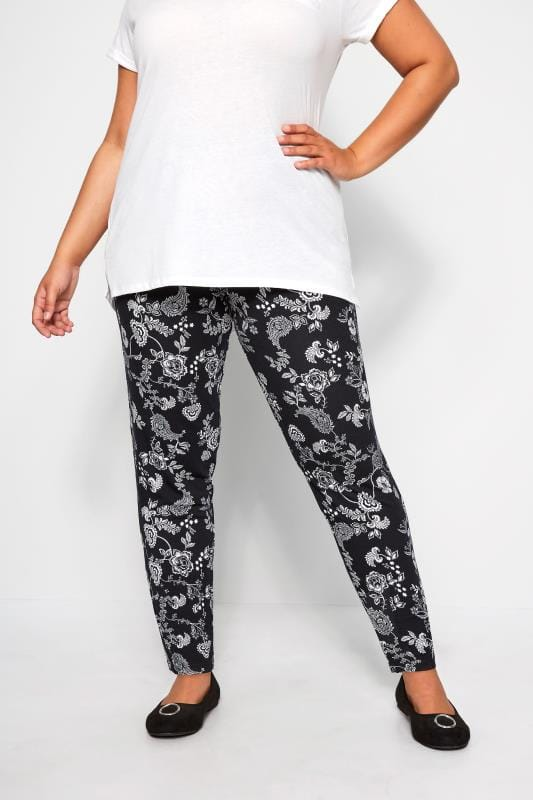Plus Size Harem Trousers Black & White Paisley Pleated Harem Trousers