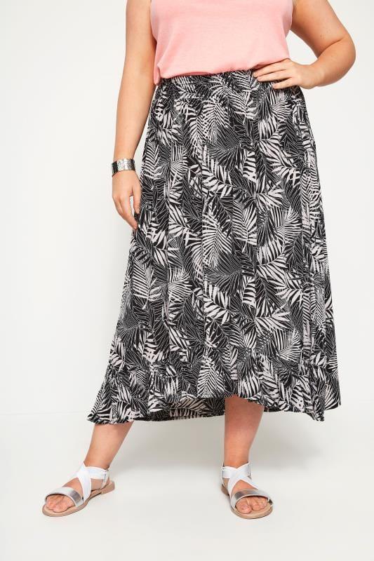 Plus Size Midi Skirts Black & White Palm Print Midi Skirt