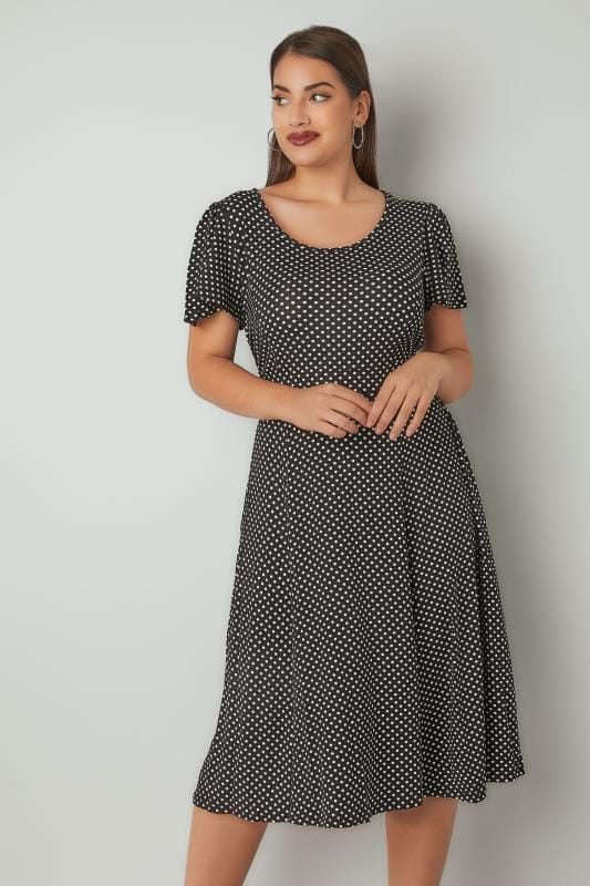 Black & White Polka Dot Dress With Tie Waist