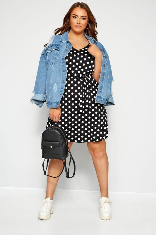 Black & White Polka Dot Swing Dress