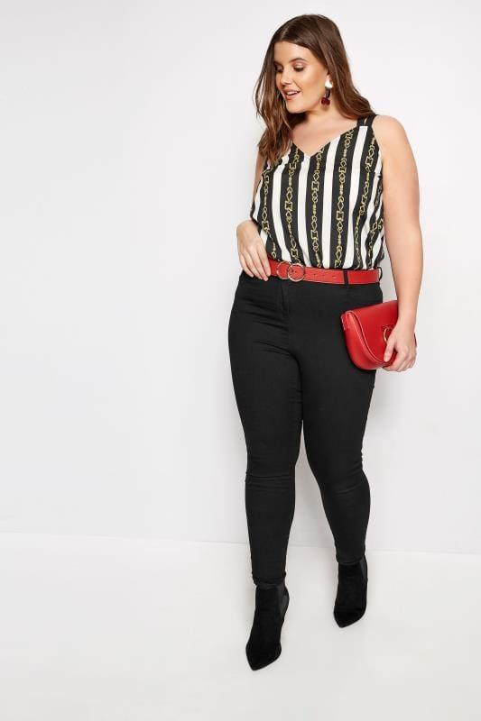 Black & White Stripe Chain Vest
