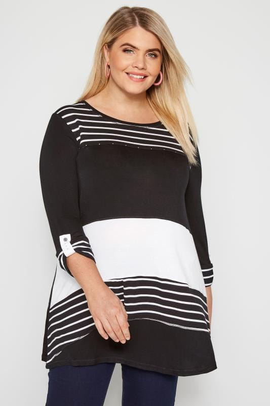 Black & White Stripe Colour Block Top