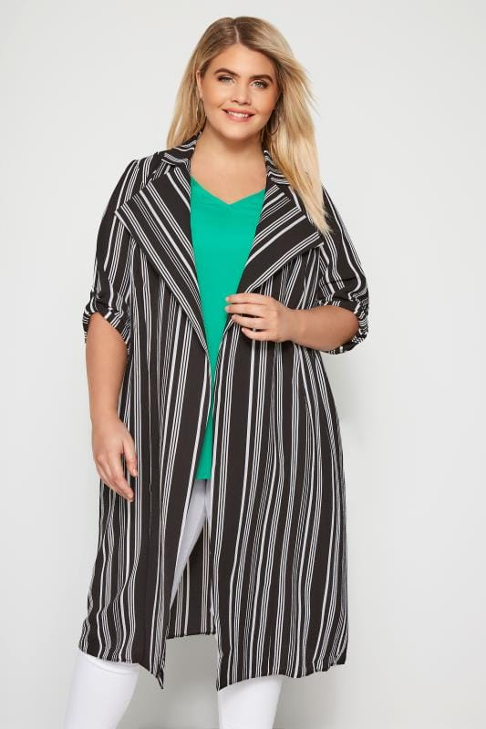 Black & White Stripe Duster Jacket