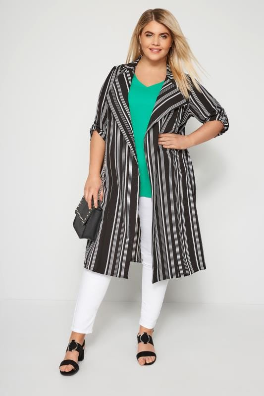 Plus Size Jackets Black & White Stripe Duster Jacket