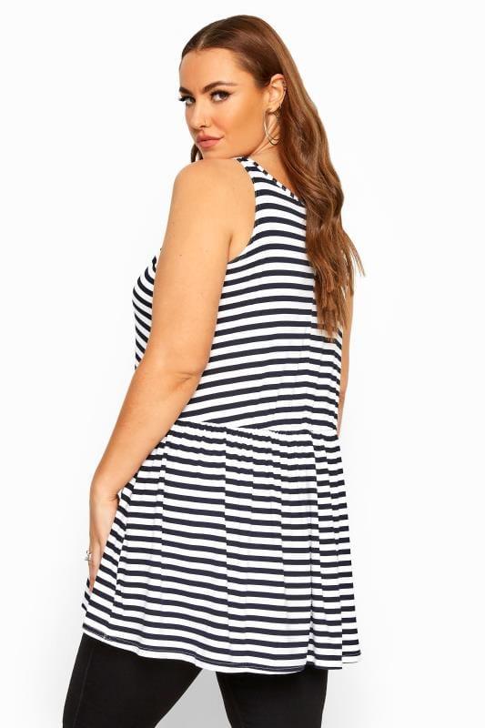 Black & White Stripe Peplum Vest Top
