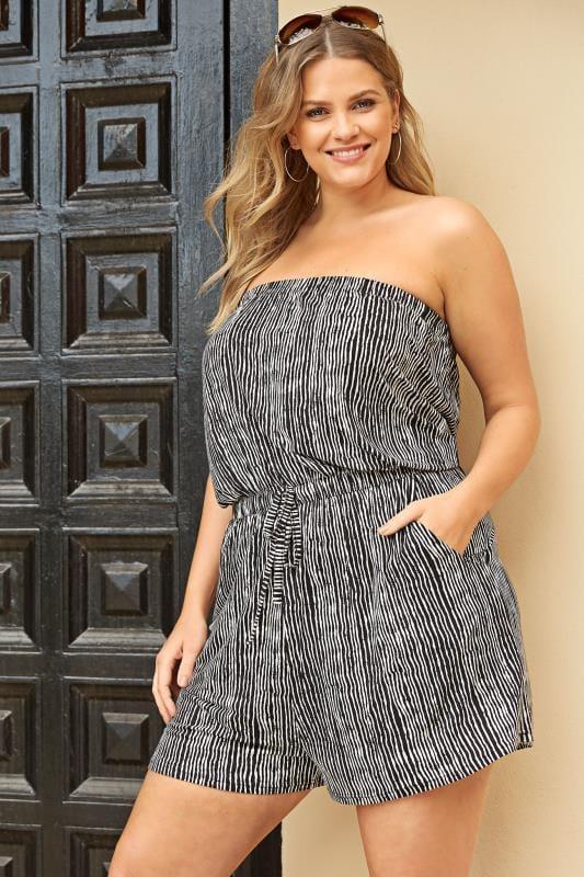 Plus Size Kaftans & Cover Ups Black & White Stripe Playsuit