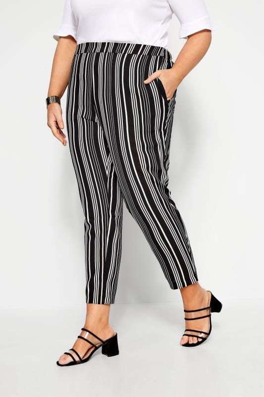 Plus Size Tapered & Slim Fit Trousers Black & White Stripe Tapered Trouser