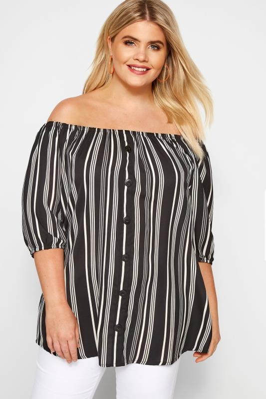 Black & White Striped Bardot Top