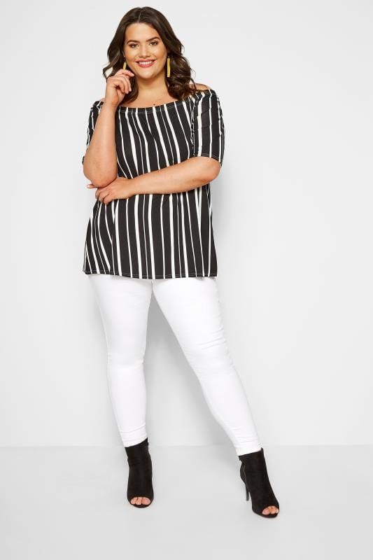 Black & White Striped Bardot Top