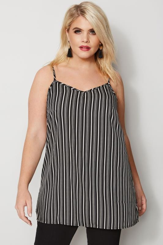 Black & White Striped Cami Top