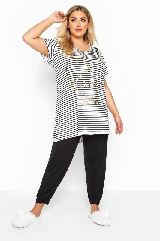 Plus Size Pyjamas Black & White Striped Foil Love Pyjama Set