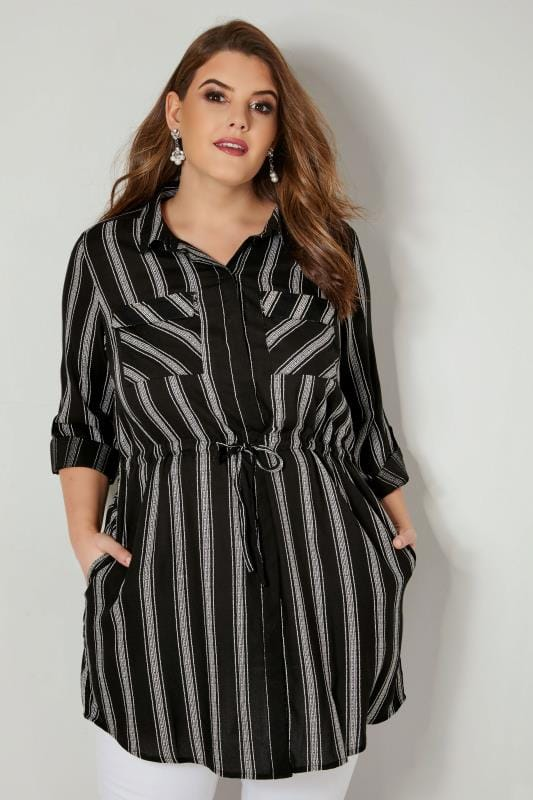 Black & White Striped Longline Shirt With Belted Waist