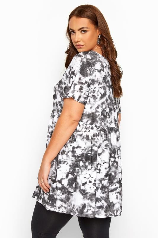 Plus Size Day Tops Black & White Tie Dye Peplum Smock Top