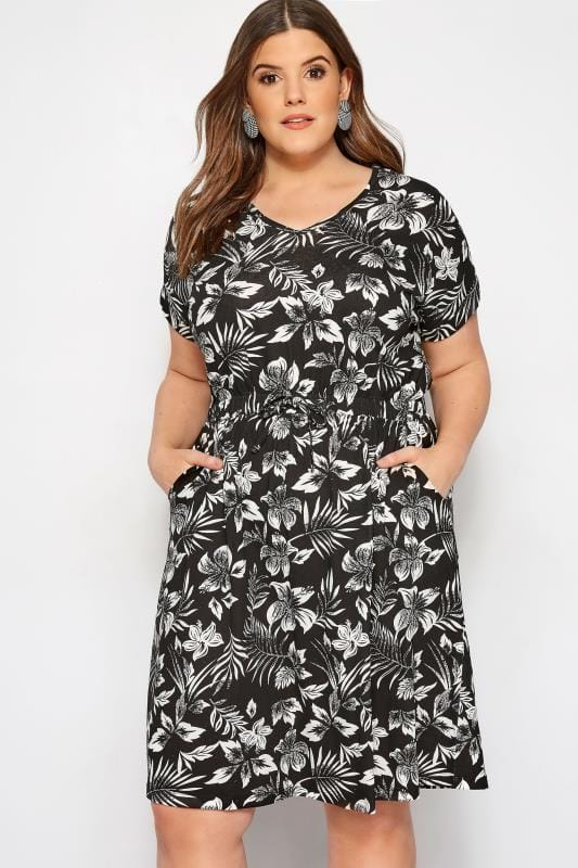 Black & White Tropical T-Shirt Dress