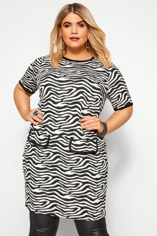 Plus Size Tunics Black & White Zebra Print Tunic